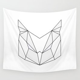 Geometric Owl - Grey & White Wall Tapestry