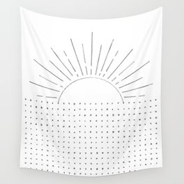 Abstract line art sun Wall Tapestry