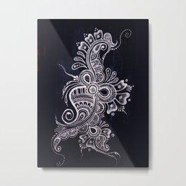 Henna Mehndi on Denim photograph print Metal Print