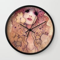 laura palmer Wall Clocks featuring Laura by Megan Lara