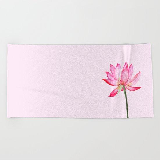 pink lotus flower Beach Towel