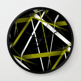 Seamless Olive Green and White Stripes on A Black Background Wall Clock