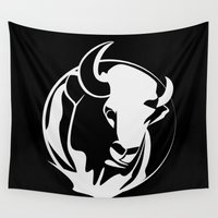 bull Wall Tapestries featuring Black Bull by Artemio Studio