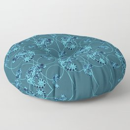 Chameleon Oneness in Midnight Vintage Psychedelic Blue Space Floor Pillow