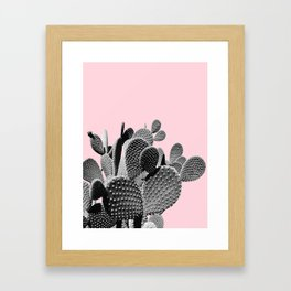 Bunny Ears Cactus on Pastel Pink #cactuslove #tropicalart Framed Art Print