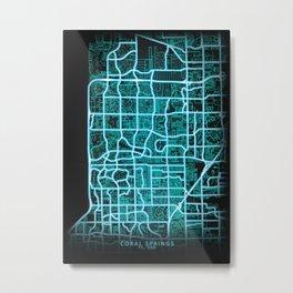 Coral Springs, FL, USA, neon, blue, map Metal Print