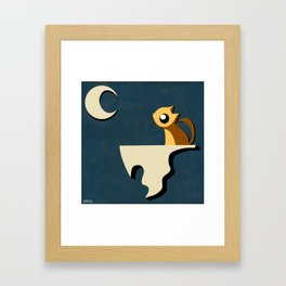 Kitty and Moon Framed Art Print