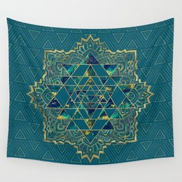 Sri Yantra  / Sri Chakra Gold, Marble and Teal Wall Tapestry