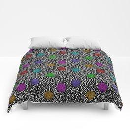 BOJANGLES, VINTAGE RETRO DOTS: MULTI-COLOR and BLACK Comforters