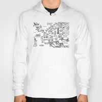 new york map Hoodies featuring New York City Map by Claire Lordon
