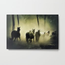 Wild Horses Night Ride Through New England Wilderness Landscape by Jeanpaul Ferro Metal Print