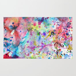 Abstract Bright Watercolor Paint Splatters Pattern Rug
