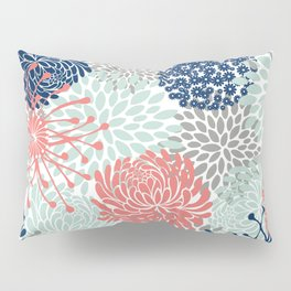 Floral Print - Coral Pink, Pale Aqua Blue, Gray, Navy Pillow Sham