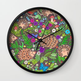 Hegehog fall forest, rainbow flowers and robins Wall Clock