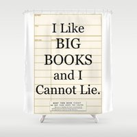 gift card Shower Curtains featuring Library Card / Book Lovers Gift / I Like Big Books and I cannot Lie by MY  HOME