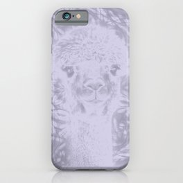 Ghostly alpaca and Lilac-gray mandala iPhone Case