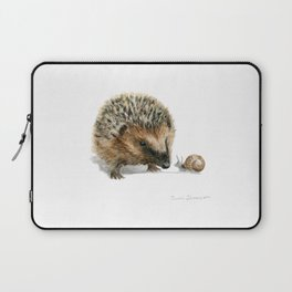 """""""Close Encounter"""" painting of a Hedgehog and Snail by Teresa Thompson Laptop Sleeve"""
