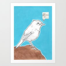 Little Bird on Blue Art Print