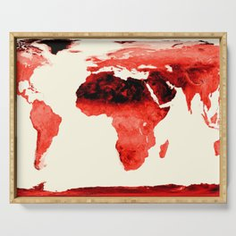 World Map brick red Serving Tray