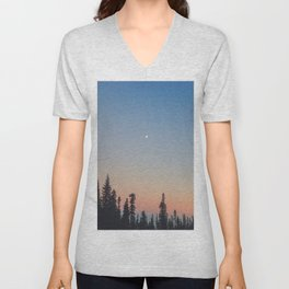 High Moon over Silhouetted Trees at Dusk Unisex V-Neck