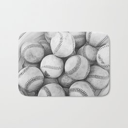 Bucket of Baseballs in Black and White Bath Mat