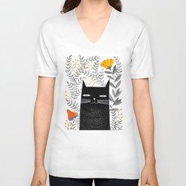 black cat with botanical illustration Unisex V-Neck