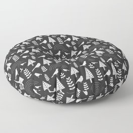 Winter Trees and Birds on Gray Floor Pillow