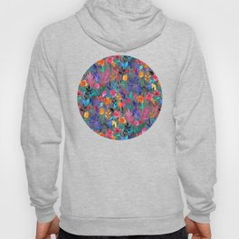 Popping Color Painted Floral on Grey Hoody