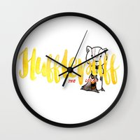 hufflepuff Wall Clocks featuring Hufflepuff The Loyal by AliceInWonderbookland