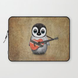 Baby Penguin Playing Trinidadian Flag Guitar Laptop Sleeve
