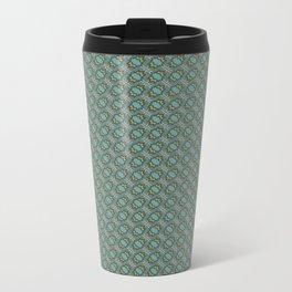Graphic Old Fashioned Leaf Lattice Pattern Metal Travel Mug
