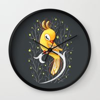 freeminds Wall Clocks featuring Magic Canary by Freeminds