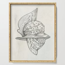 Roman helmet. Zentangle stylized. Vector illustration. Pattern. Serving Tray