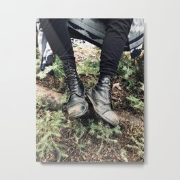 Hiking in the Woods Metal Print