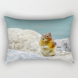 Digital Painting of a Cute Chipmunk sitting on a Rock in front of Lake Louise, Alberta Rectangular Pillow