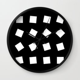 Geometric Pattern 32 (black white squares) Wall Clock