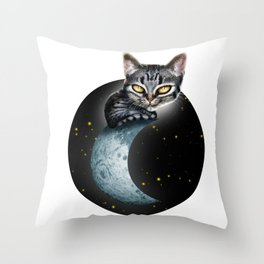 CAT ON THE MOON Throw Pillow