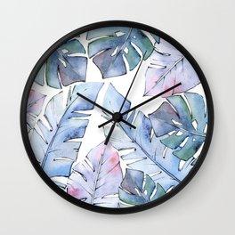 Watercolor Tropical Leaves IV Wall Clock