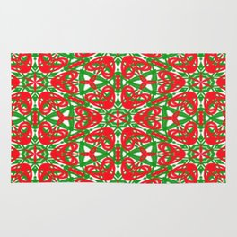 Red, Green and White Kaleidoscope 3375 Rug