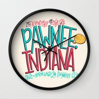 indiana Wall Clocks featuring Pawnee, Indiana by Chelsea Herrick