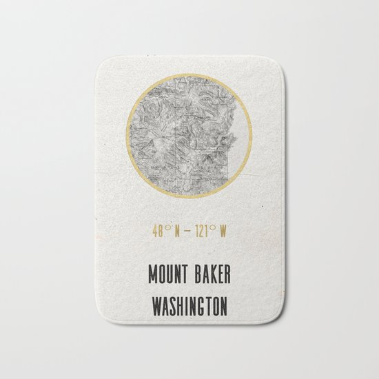 Mount Baker Washington Location Map Print Bath Mat