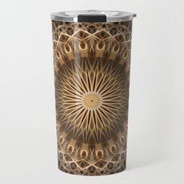 Brown and golden mandala Travel Mug