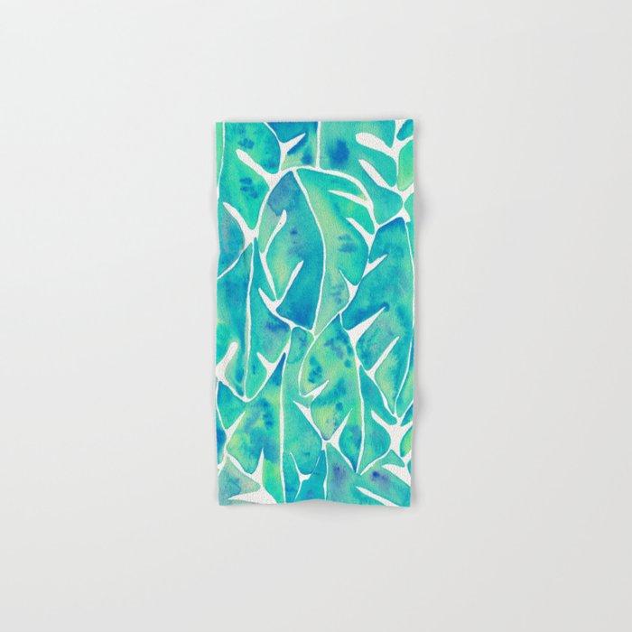 Split Leaf Philodendron – Turquoise Hand & Bath Towel