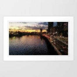 Brisbane River - A Beautiful Digital Painting Print Art Print