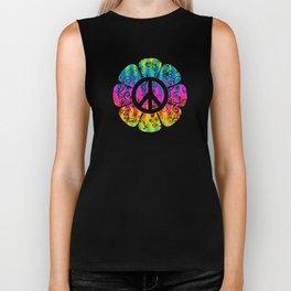 Colorful Peace Symbol Flower  Biker Tank