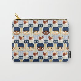 Baseball Pinstripes White and Blue - Super Cute Sports Stars Carry-All Pouch