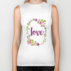 Floral Wreath Watercolor - Love - by Sarah Jane Design Biker Tank