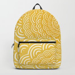 Spiral Mandala (Yellow Golden) Curve Round Rainbow Pattern Unique Minimalistic Vintage Zentangle Backpack