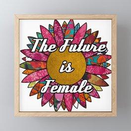 The Future is Female Retro Fabric Collage Framed Mini Art Print