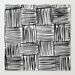 Modern Square Black on White Canvas Print